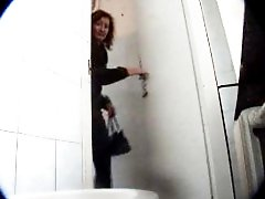 3 movies - Unsuspecting mamas empties her bladders in public loo