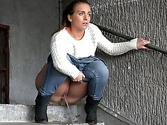 1 movies - Cute babe in denims is desperate to piss