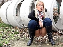 1 movies - Gorgeous blonde Sweet Cat pisses outside